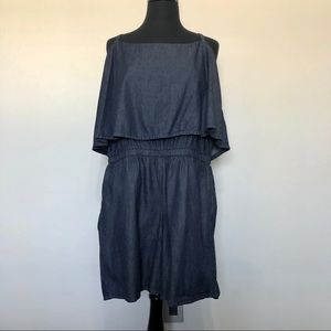 Ashley Stewart dark denim romper